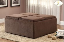 Cocktail Ottoman with Casters,Chocolate Textured Plush Microfiber