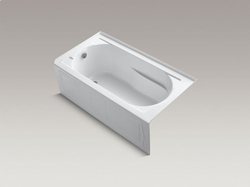 "Almond 60"" X 32"" Alcove Bath With Integral Apron, Integral Flange and Left-hand Drain"