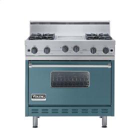 """Iridescent Blue 36"""" Open Burner Range - VGIC (36"""" wide, four burners 12"""" wide griddle/simmer plate)"""