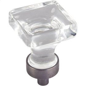 "1"" Overall Length Glass Square Cabinet Knob."