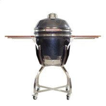 "Heat 19"" Ceramic Kamado Grill with Cart, Shelves, Grill Cover"