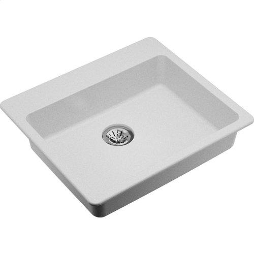 "Elkay Quartz Classic 25"" x 22"" x 5-1/2"", Drop-in ADA Sink with Perfect Drain, White"