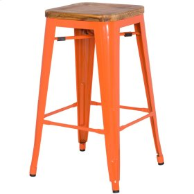 Metropolis Backless Counter Stool Wood Seat, Orange