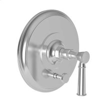 Uncoated Polished Brass - Living Balanced Pressure Tub & Shower Diverter Plate with Handle. Less Showerhead, arm and flange.