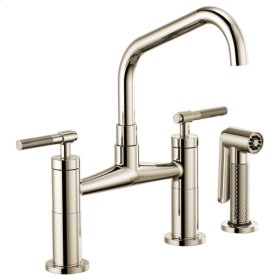 Bridge Faucet With Angled Spout and Knurled Handle