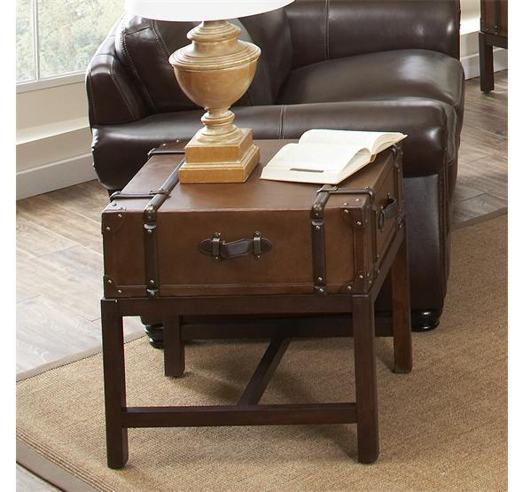Perfect Latitudes Suitcase Side Table Aged Cognac Finish