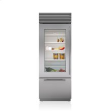 """30"""" Classic Over-and-Under Refrigerator/Freezer with Glass Door"""