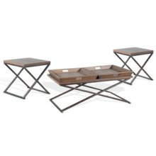 3-pc Set: (1) Coffee & (2) End Table w/ Metal Base