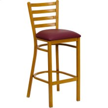 HERCULES Series Natural Woodgrain Ladder Back Metal Restaurant Bar Stool with Burgundy Vinyl Seat