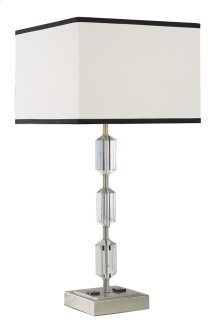 1 Light Table Lamp with Metal Crystal Body & Brushed Nickel & Clear Finish