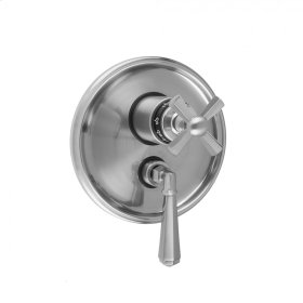 "Satin Chrome - Round Step Plate with Hex Cross Thermostatic Valve and Hex Lever Volume Control Trim for 1/2"" Thermostatic Valve with Integral Volume Control (J-THVC12)"