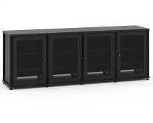 Synergy Solution 347, Quad-Width AV Cabinet, Black with Black Posts