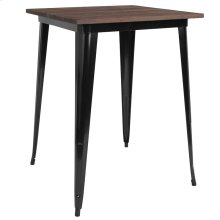 "31.5"" Square Black Metal Indoor Bar Height Table with Walnut Rustic Wood Top"