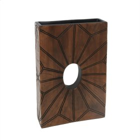 """Square Brown Vase W/ Hole 14"""""""