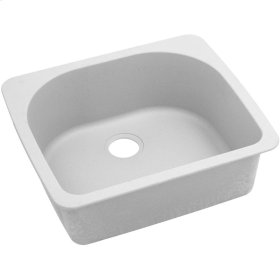 "Elkay Quartz Classic 25"" x 22"" x 8-1/2"", Single Bowl Top Mount Sink, White"