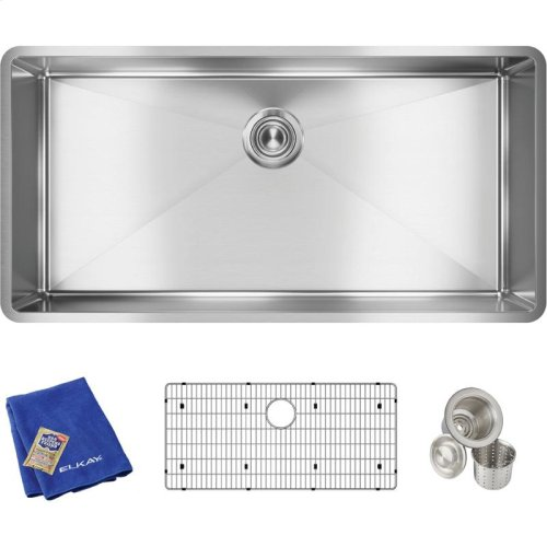 "Elkay Crosstown Stainless Steel 36-1/2"" x 18-1/2"" x 9"", Single Bowl Undermount Sink Kit"