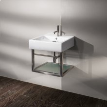 """Wall-mount structure made of brushed stainless steel for lavatory 5062, with one shelf in wood and a towel bar, 17 1/2""""W, 17 1/2"""" D, 13 3/4"""" H."""