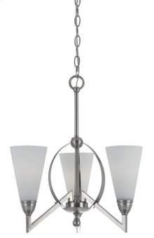 60W X 3 CANROE METAL 3 LIGHT CHANDELIER WITH GLASS SHADES