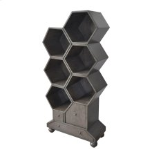Westgate 3 Drawer Slate Grey Hexagon Bookshelf