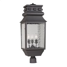 Forged Lancaster 3-Light Outdoor Post Mount in Charcoal