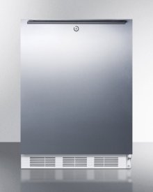 ADA Compliant All-refrigerator for Freestanding General Purpose Use,auto Defrost W/lock, Stainless Steel Wrapped Door, Horizontal Handle, and White Cabinet