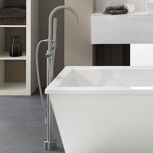 Contemporary Floor Mount Bathtub Faucet - Brushed Nickel