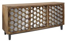 Bengal Manor Mango Wood 3 Sliding Door Cabinet w/ Honeycomb Mirror