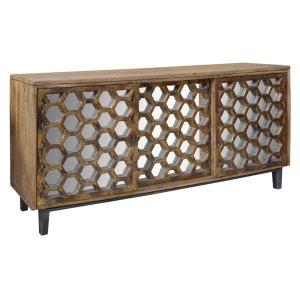 CRESTVIEW COLLECTIONSBengal Manor Mango Wood 3 Sliding Door Cabinet w/ Honeycomb Mirror