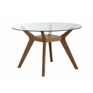 CoasterPaxton Mid-century Modern Nutmeg Glass Dining Table