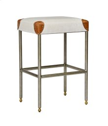 Counter Stool, Worn Black Martial Backless Bar and Counter Stool
