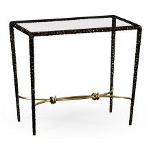 Hammered Antique Black Brass Rectangular Side Table