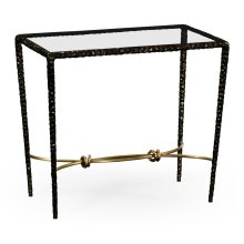 Hammered Antique Black Brass Rectangular Side Table