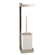 Wall mounted tissue holder w/white brush holder