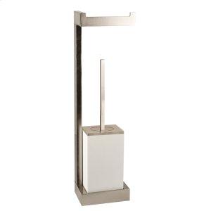 Wall mounted tissue holder w/white brush holder Product Image