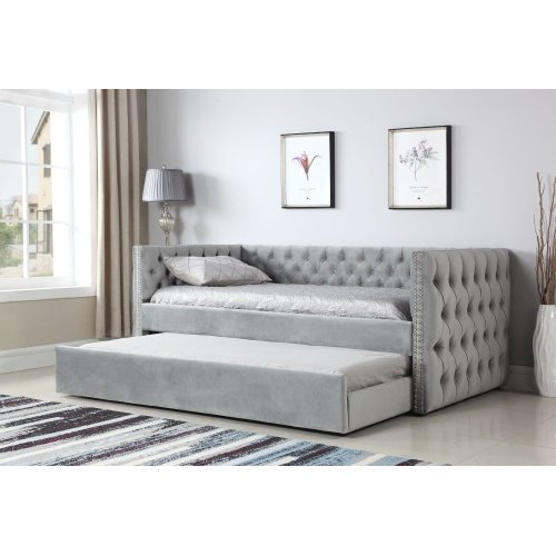 Emerald Home Paige Trundle Day Bed Gray B708-03-k