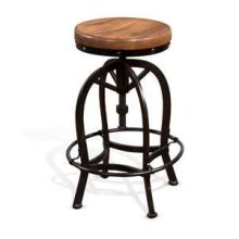 "24""-30""H Adjustable Metal Stool w/ Wood Seat"