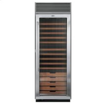 "30"" Full-Height Wine Cellar, Fluted Glass, Right Hinge/Left Handle"