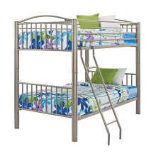 """Heavy Metal """"Pewter"""" Twin Over Twin Bunk Bed"""