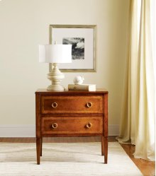 Two Drawer Fruitwood Commode, Fruitwood W/ Inlay. Solid Brass Hardware.