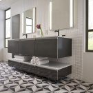 "Engineered Stone 49"" X 19"" X 3/4"" Quartz Dry Vanity Top In Lava Black Product Image"
