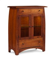 Aspen 2-Door Dining Cabinet, 2 Doors with Beveled Glass Doors and Wood Ends Product Image