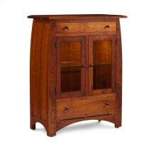 Aspen 2-Door Dining Cabinet, 2 Doors with Beveled Glass Doors and Wood Ends