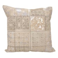 """Couture Nat Hide S6078 White/silver 20"""" X 20"""" Throw Pillow Product Image"""