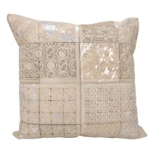 """Couture Nat Hide S6078 White/silver 20"""" X 20"""" Throw Pillow"""