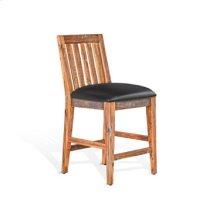 "Slatback Barstool w/ Cushion Seat, 24""H"