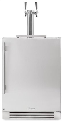 24 Inch Dual Tap Stainless Solid Door Beverage Dispenser - Right Hinge Stainless Solid