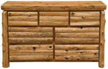 Log Front Seven Drawer Dresser - Natural Cedar - Log Front - Premium