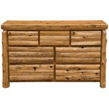 Log Front Seven Drawer Dresser - Natural Cedar - Log Front - Premium