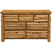 Log Front Seven Drawer Dresser - Natural Cedar - Log Front - Value
