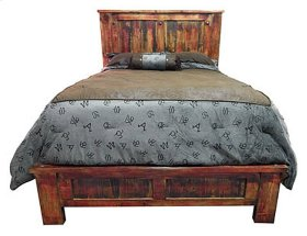 Red Rubbed Queen Bed